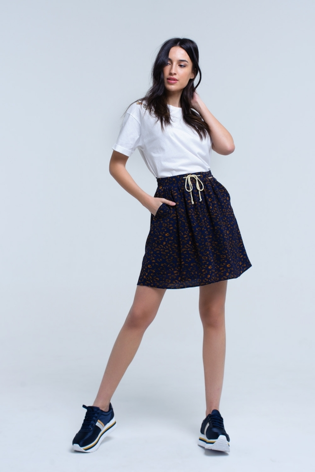 Blue printed mini skirt with contrast trim