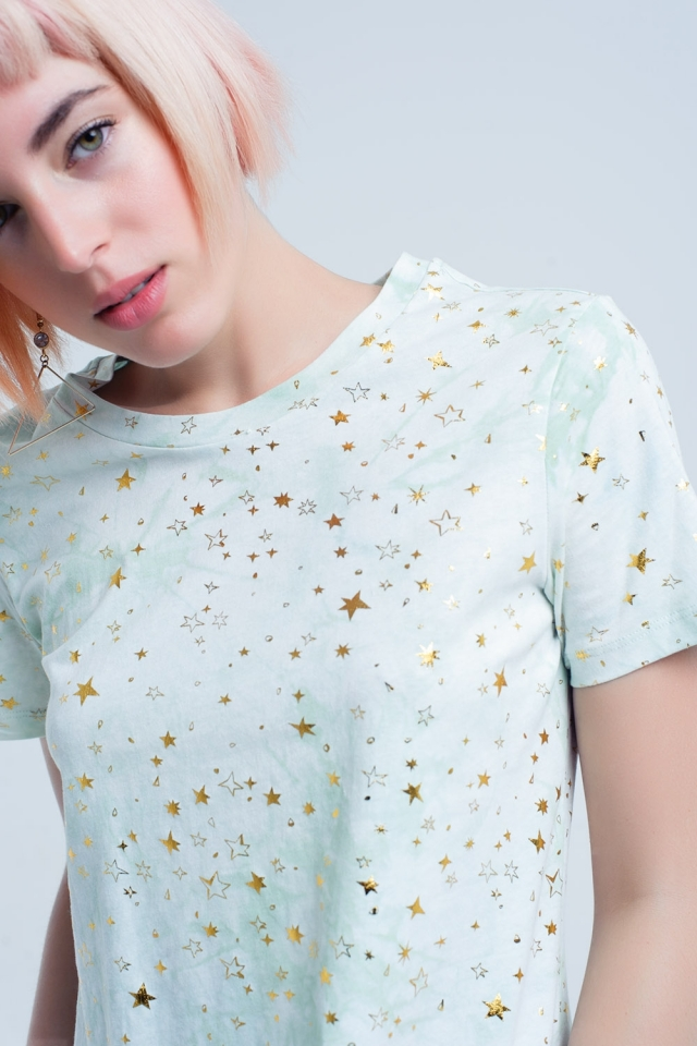 Green t-shirt faded effect with golden stars