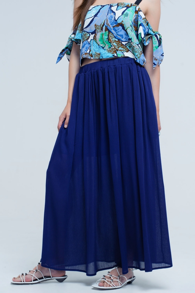 Navy maxi skirt with pockets
