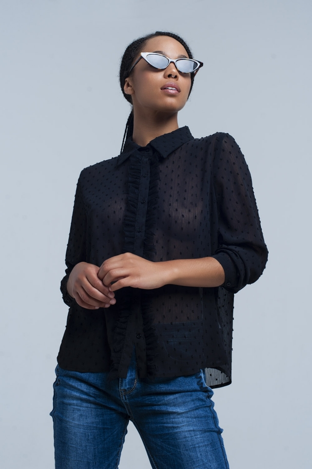 Black transparent shirt with embroidered polka dots
