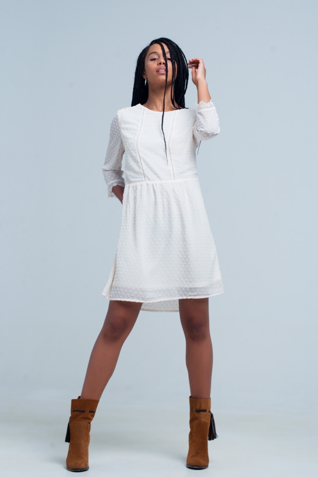 beige Chiffon Polka Dot Mini Dress with open back