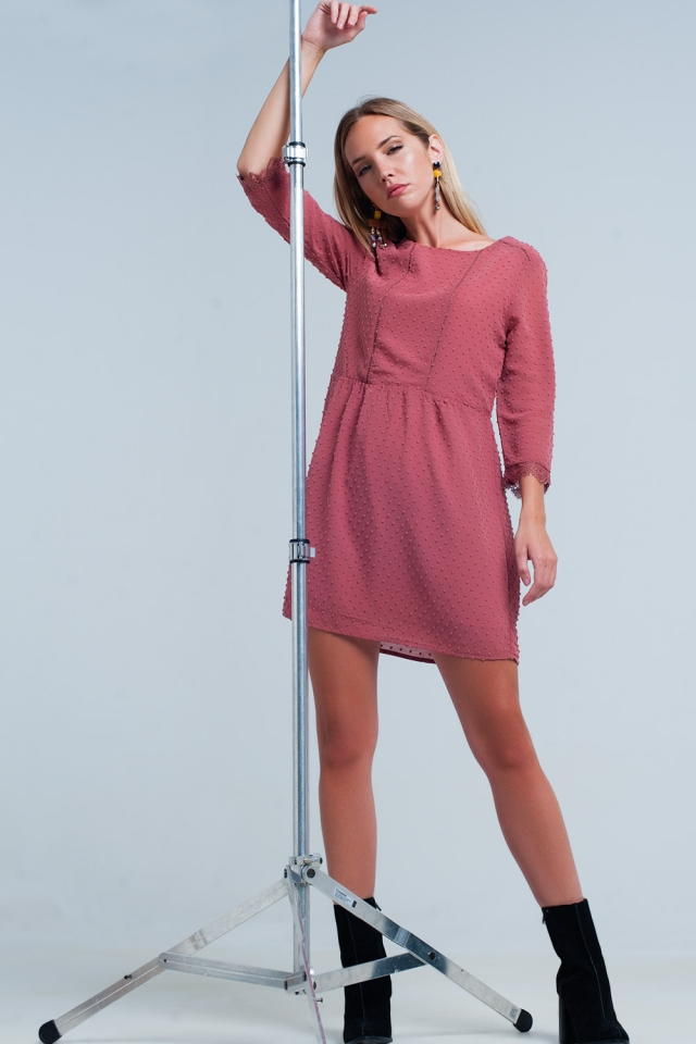 Wine Chiffon Polka Dot Mini Dress with open back