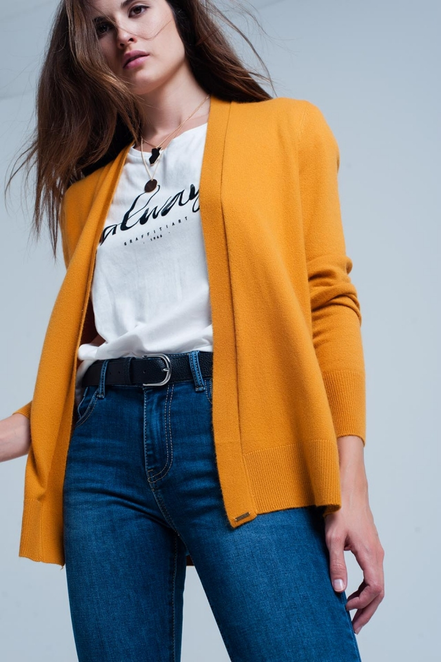 Fuzzy mustard long sleeves sweater