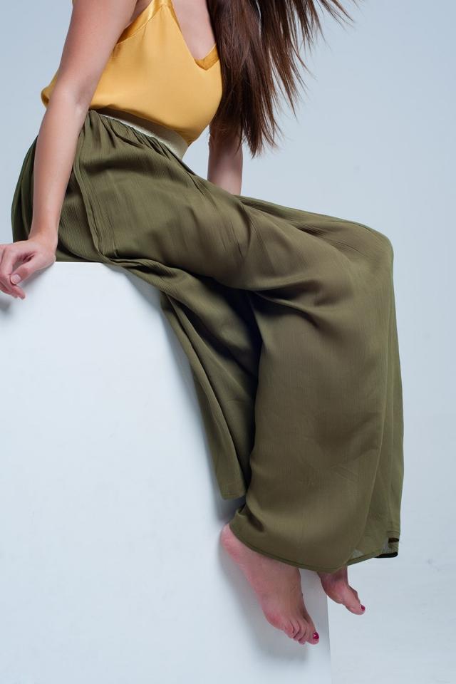 green maxi skirt With Elastic Waist