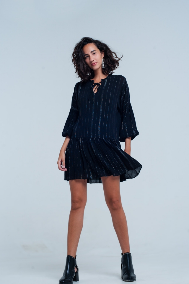Black Dress In Lurex Metallic Stripe