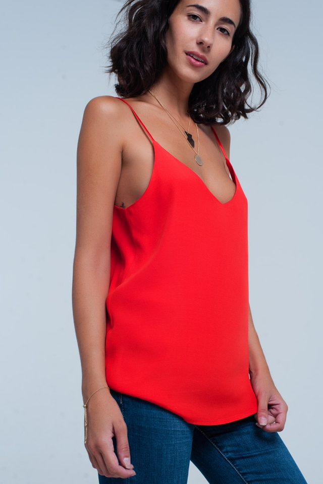 Red cami top with straps satin