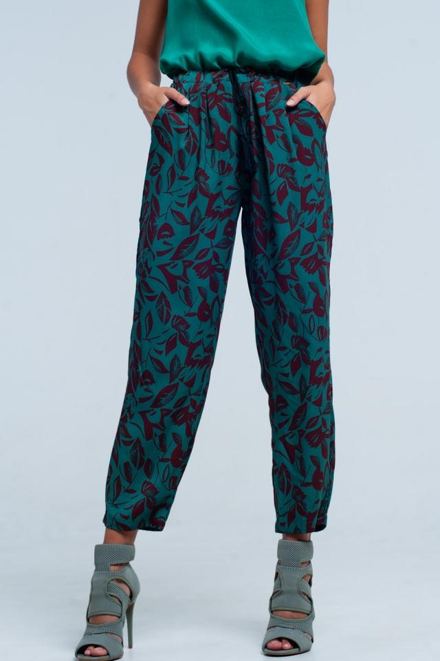Green floral wide leg Pants