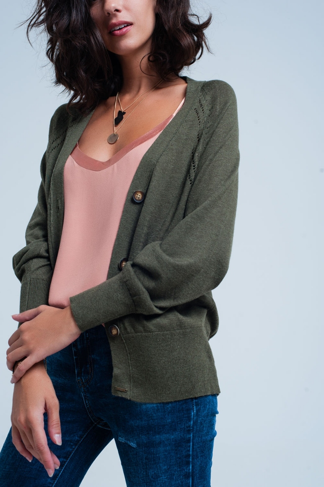 loose knit cardigan in green with buttons