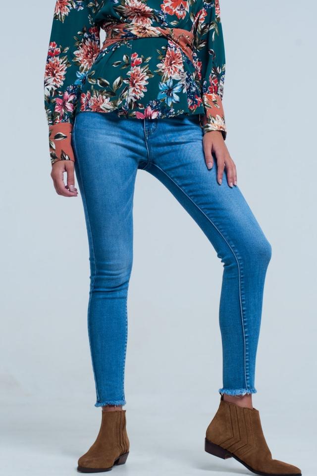 high waist skinny jeans in pretty mid stonewash blue