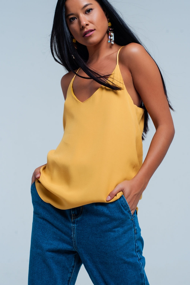 Mustard cami top with satin straps
