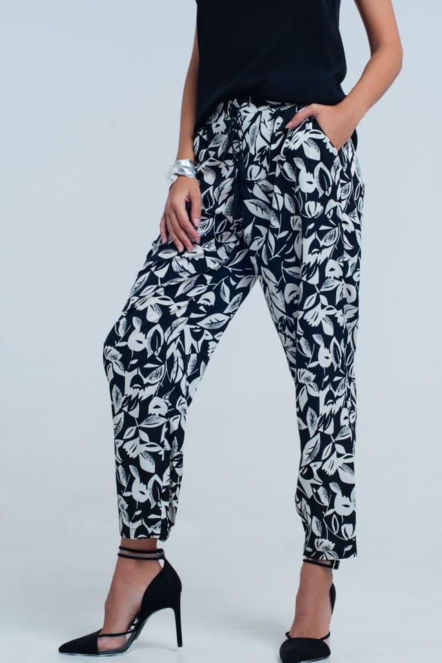 Black floral wide leg pants