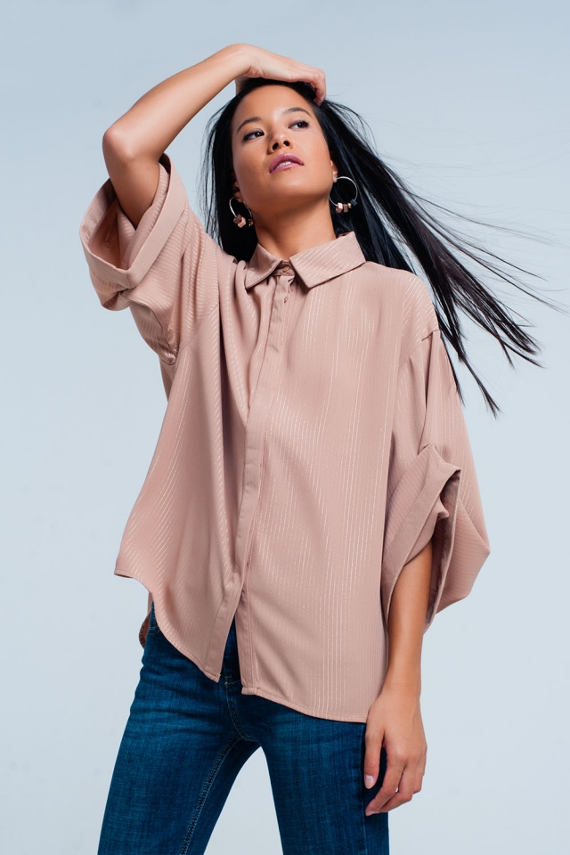 Pink oversized shirt with lurex details