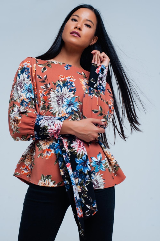 Pink floral print blouse tied in front