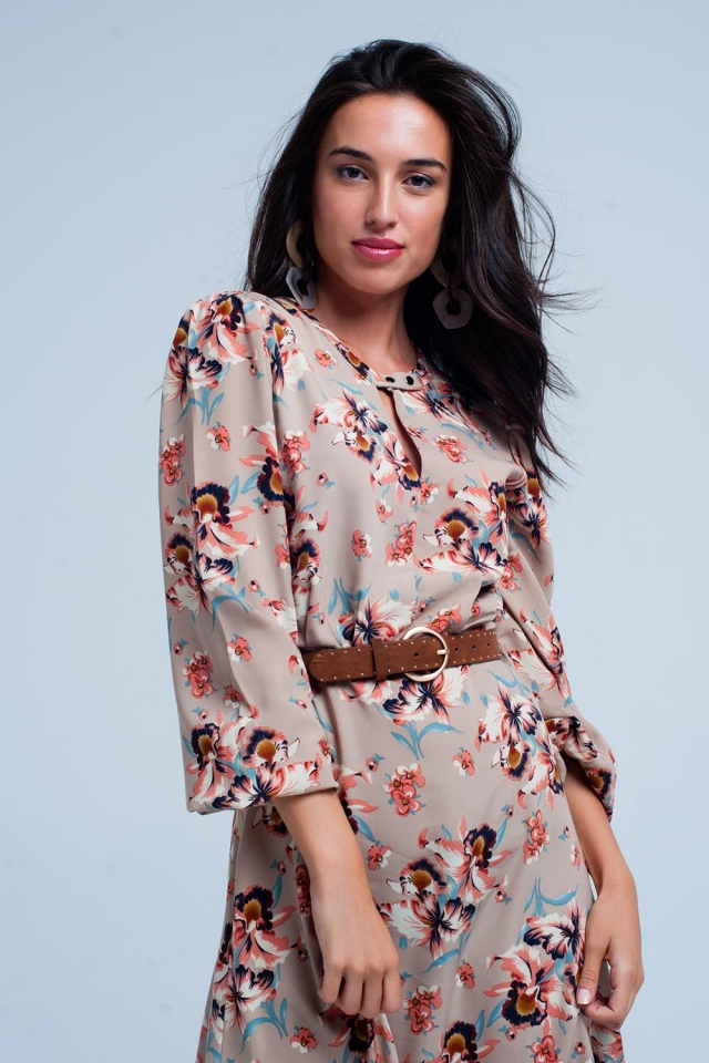 Beige floral print dress with button closure