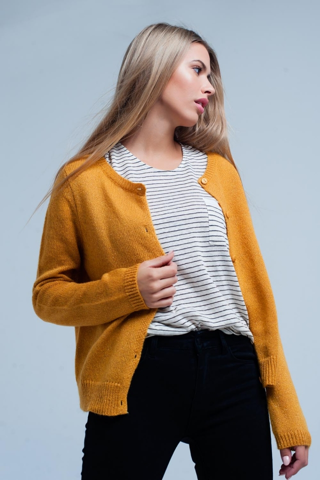 Mustard Glitter Knit Cardigan