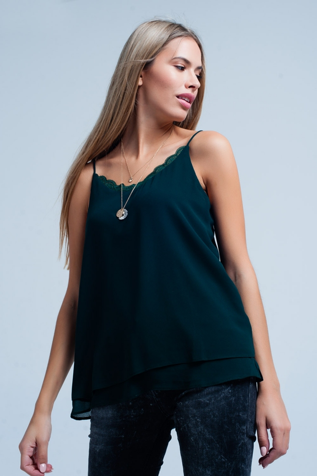 Green cami top with lace insert