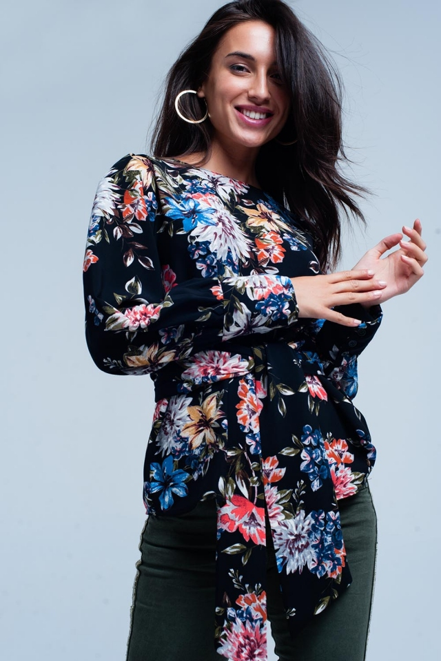 Black tie front blouse in floral print