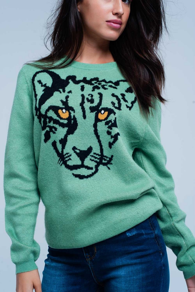 Light Green fine knit sweater with Leopard