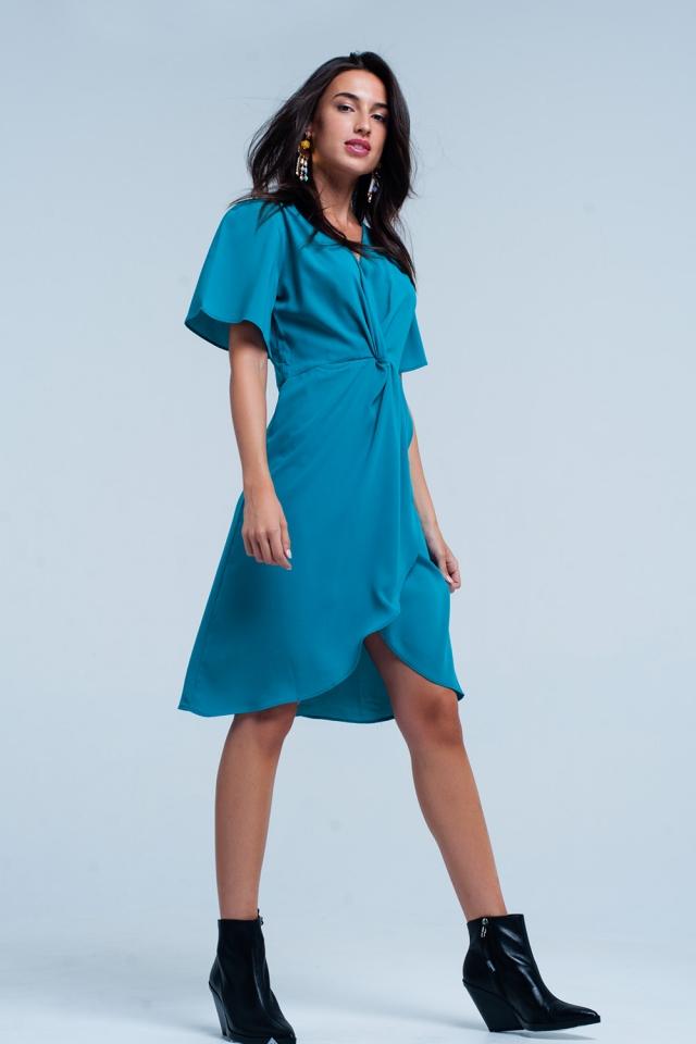 Turquoise wrapped mini dress