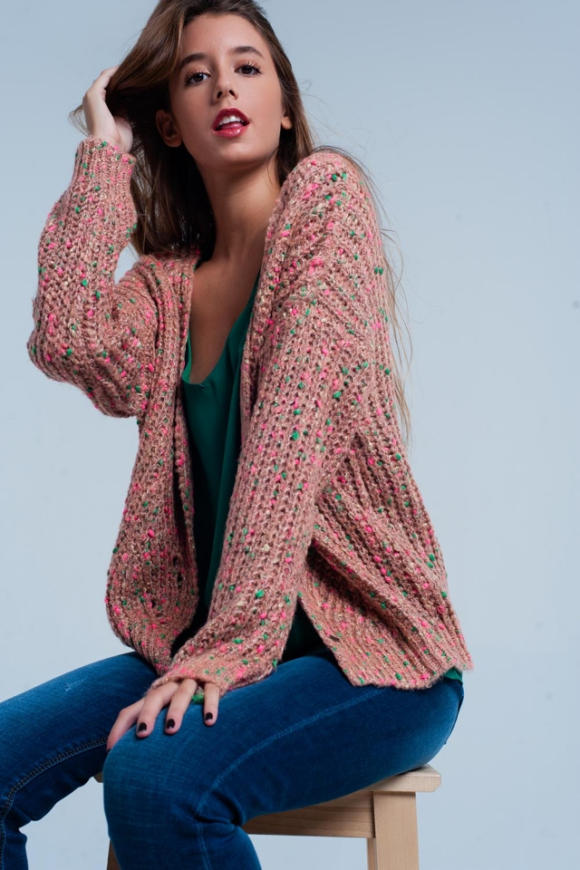 Pink Chunky Fleck Knit Cardigan Green Detail