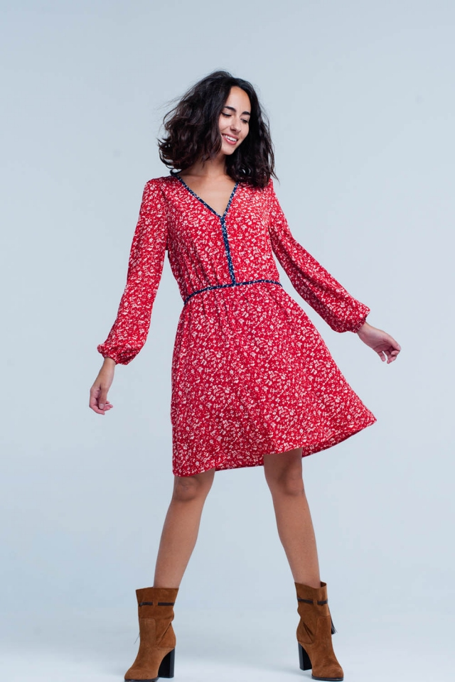 Red Cable Knitted Mini Dress