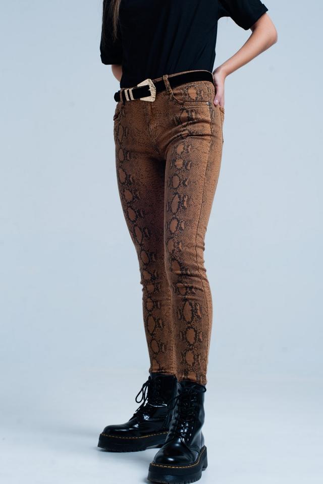 Orange Skinny Pants in Snake Print