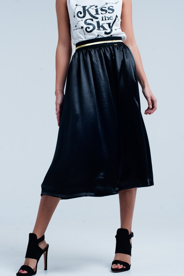 Black Satin Midi Skirt with Stretch Waist