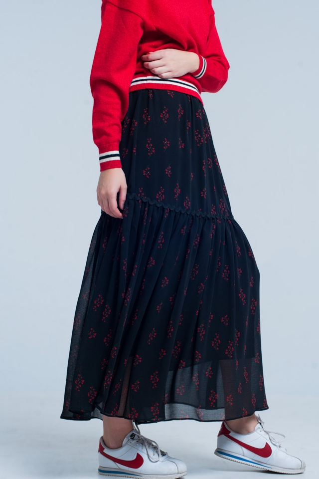 Black Floral Tiered maxi Skirt