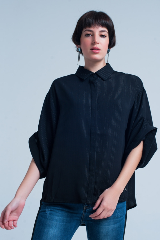 Black Oversized Shirt with Lurex Details