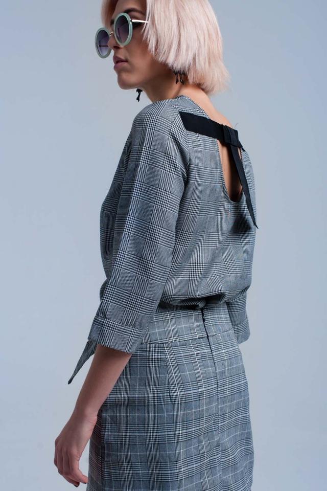 Gray tartan pattern top with ribbons