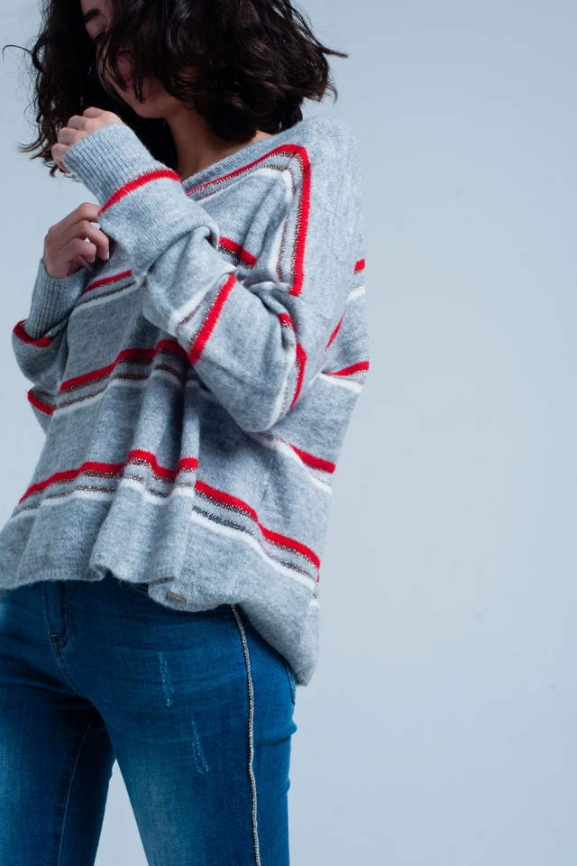 Grey Sweater with Red Glitter Stripes