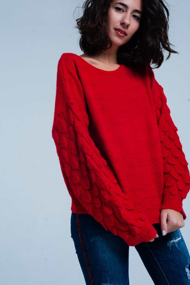 Red Thick Knit Feather Textured Sweater