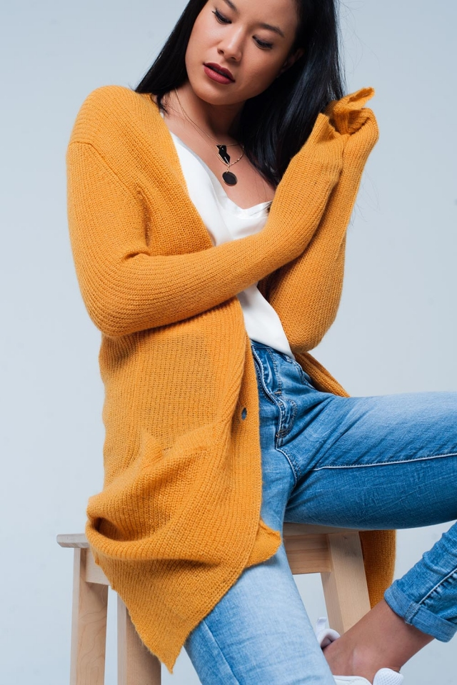 Mustard Buttoned Longline Cardigan with Pockets