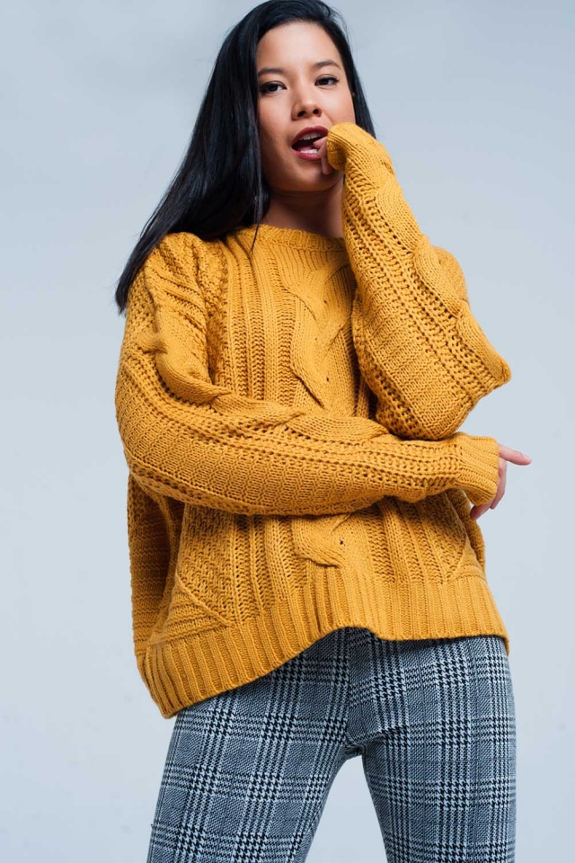 Mustard Cable Knit Sweater with Round Neck
