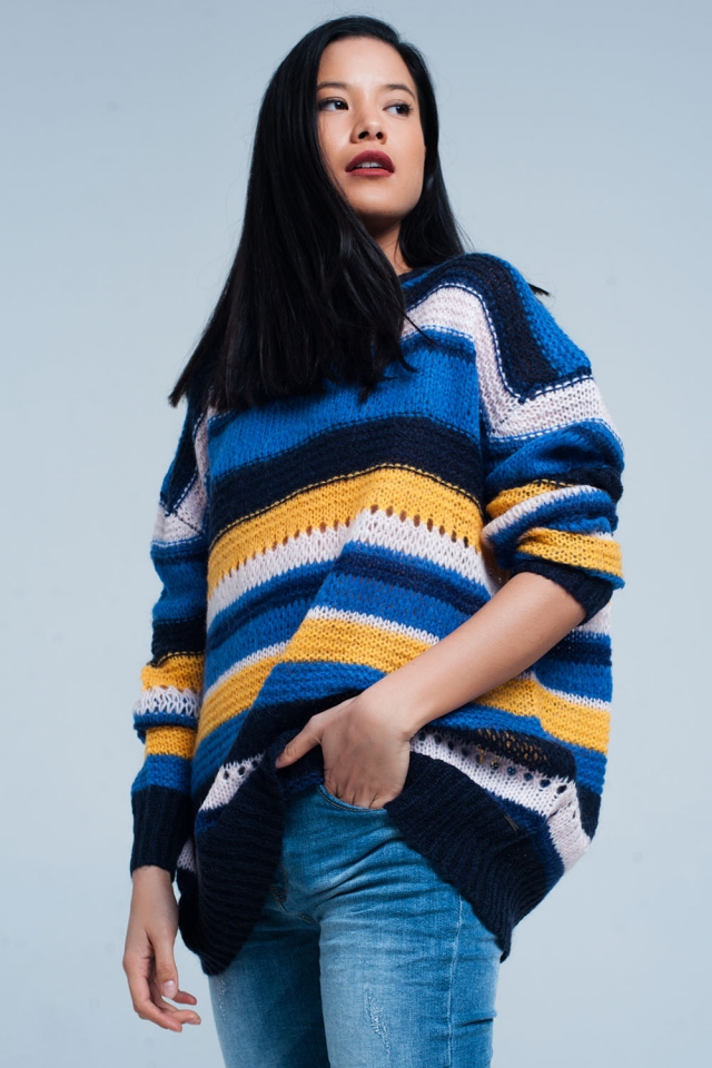 Blue Chunky Knit Striped Maxi Sweater