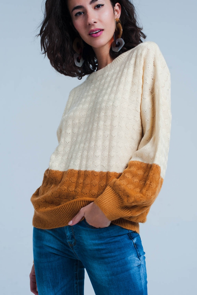 Beige color block balloon sleeve sweater