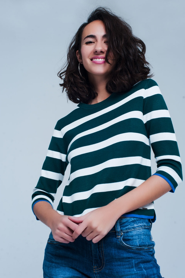 Cropped sleeve Green sweater in stripe