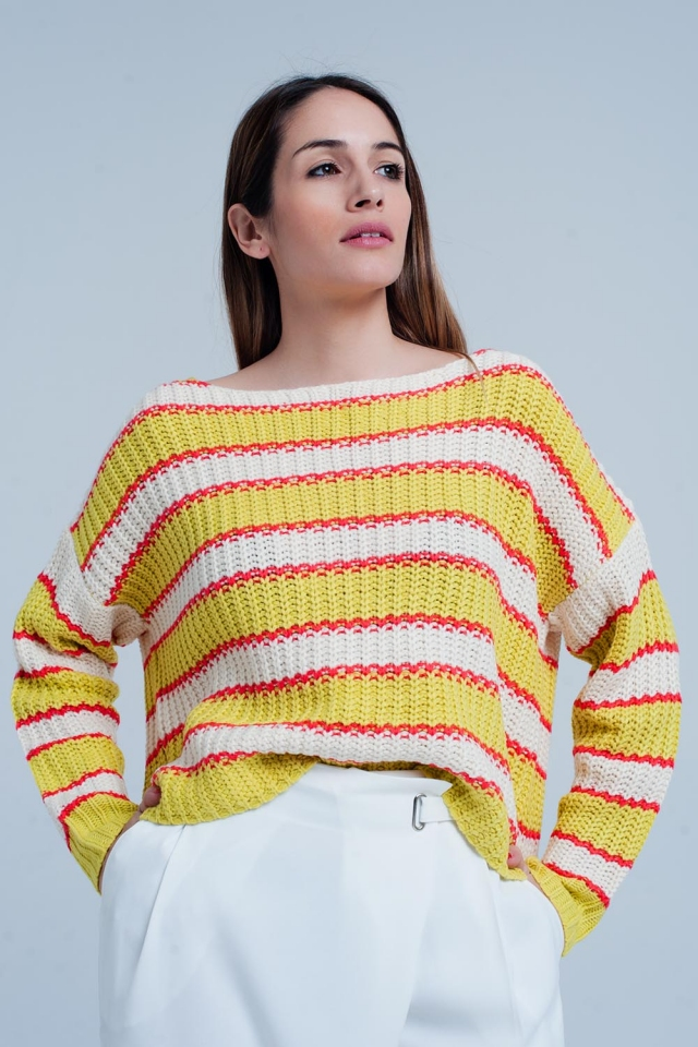 Yellow Striped Rib Stitch Knitted Sweater