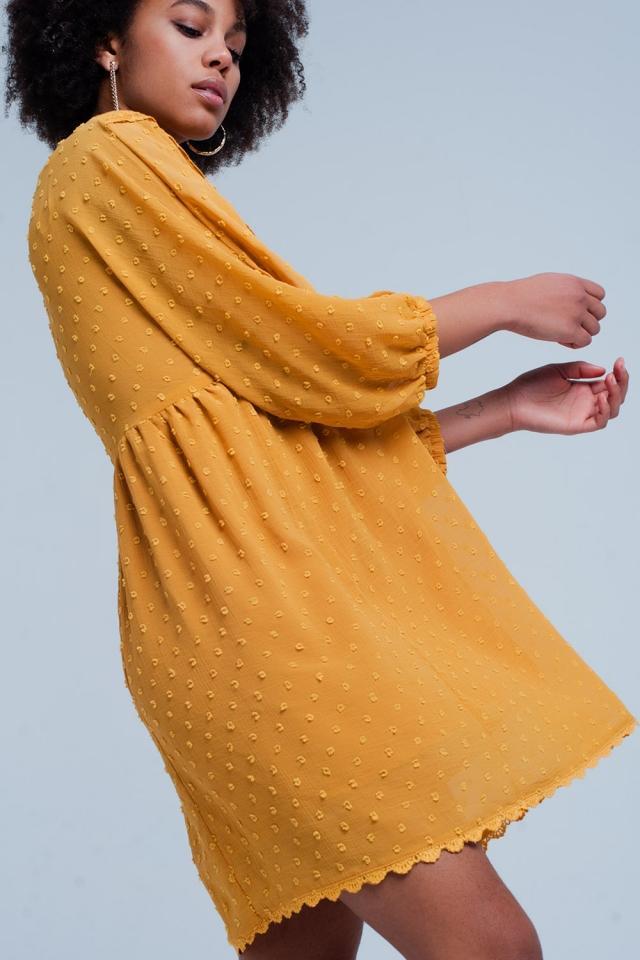 Mustard Embellished Mini Dress