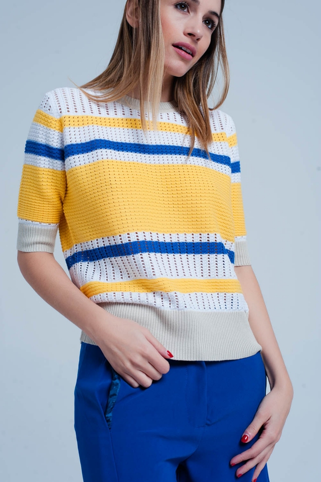 Yellow Textured Striped Sweater