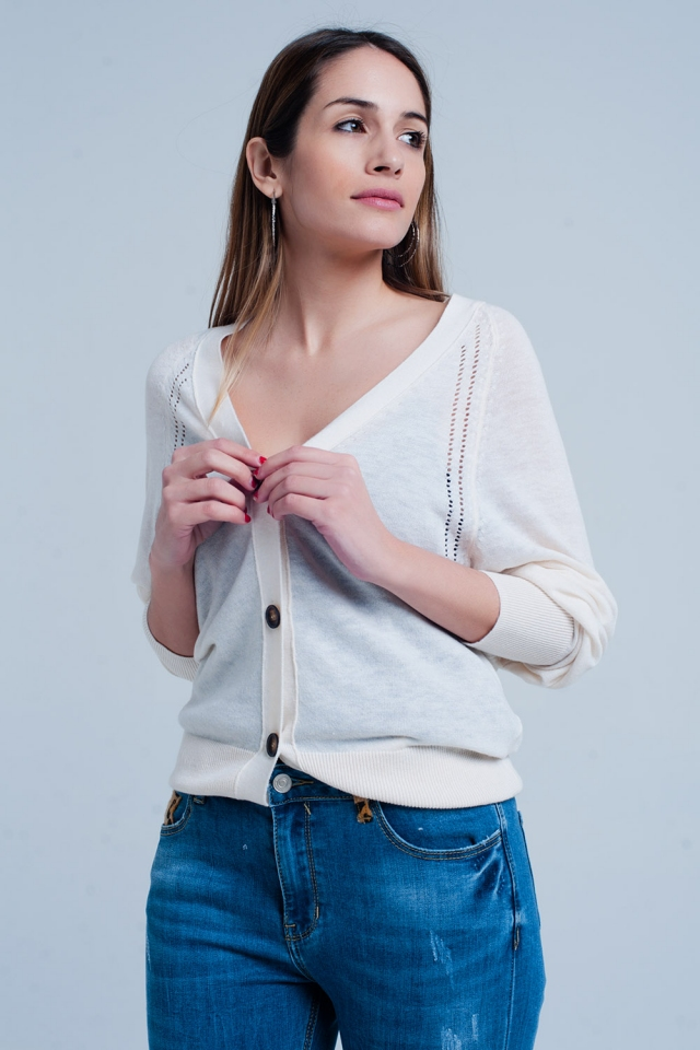 Cream Cardigan with Buttons and Edgy Seam