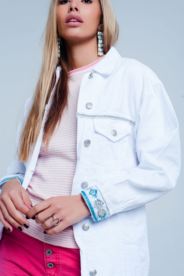 White Plus Girlfriend Fit Jacket with Embroidered Hem Detail