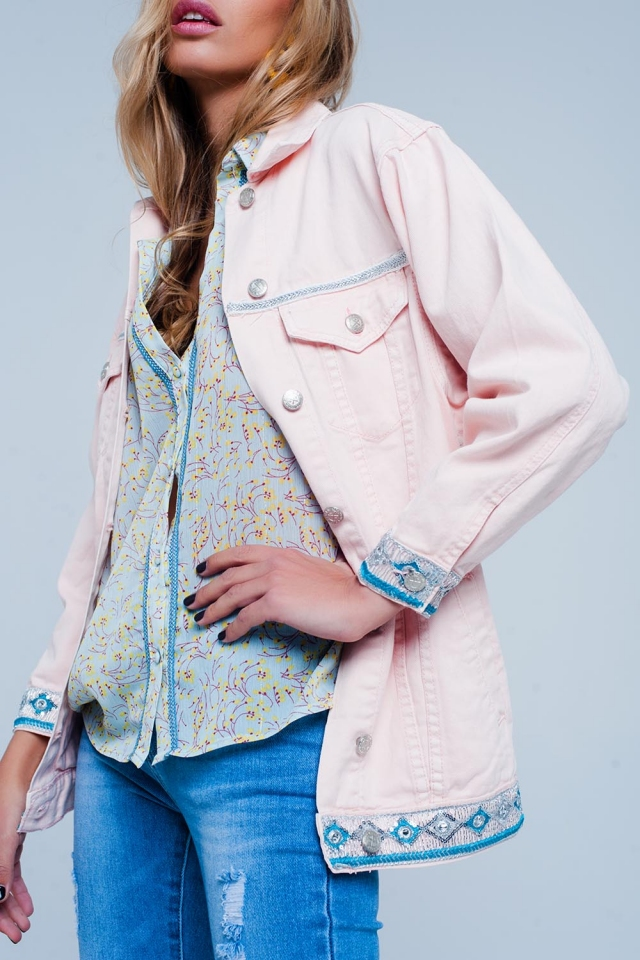 Pink Plus Girlfriend Fit Jacket with Embroidered Hem Detail