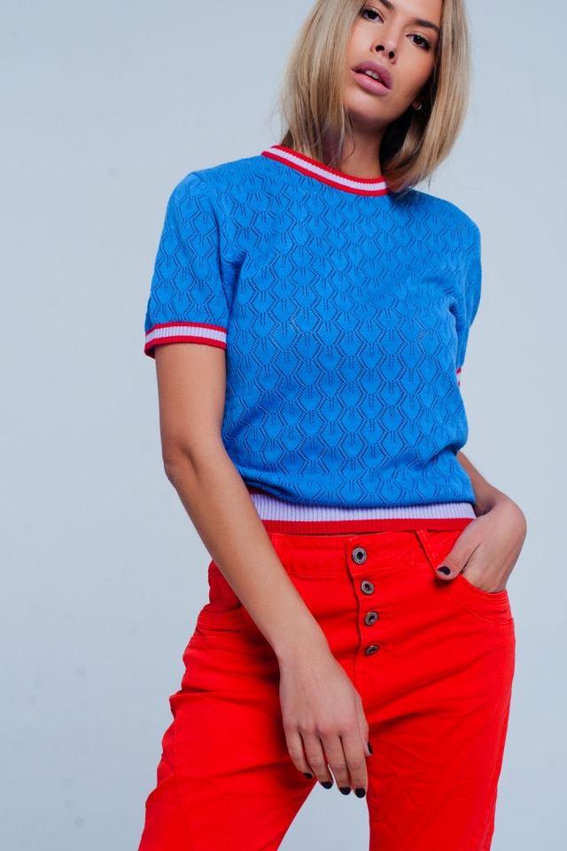 Blue open knit sweater in geo pattern