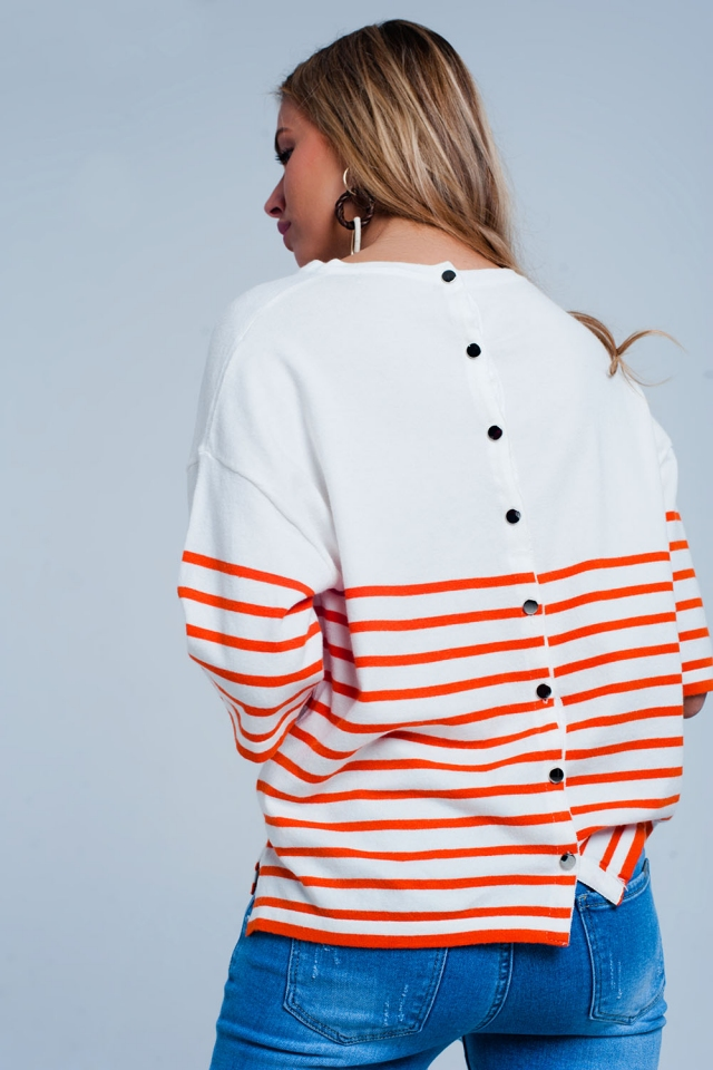 Button detail lighweight sweater with orange stripes