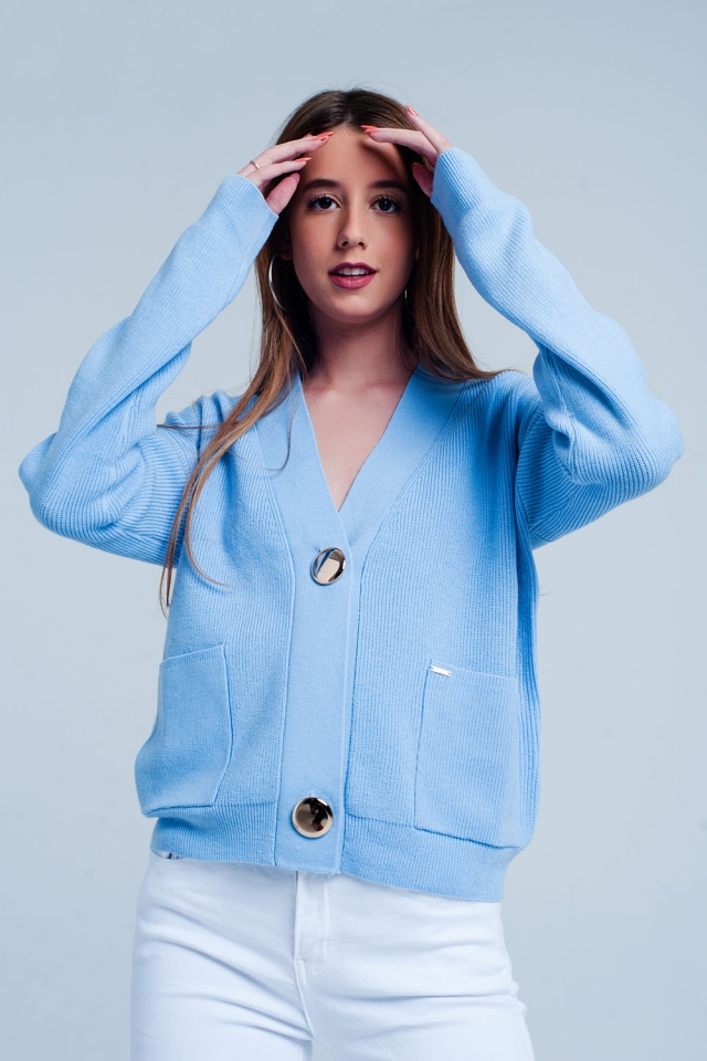 Blue cardigan in fine knit rib with buttons
