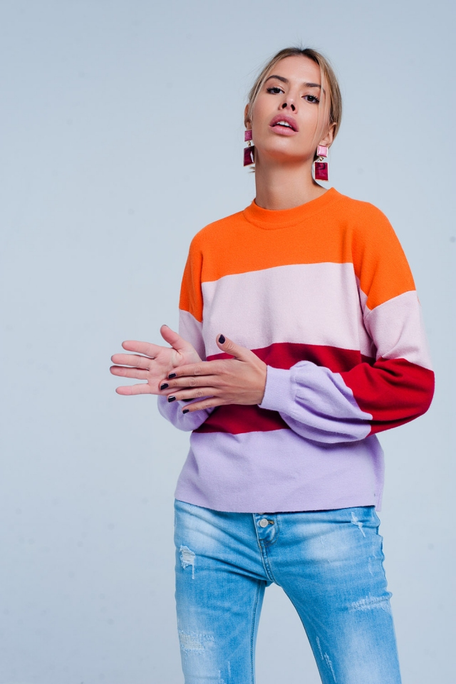Color pop stripe sweater