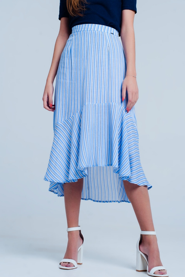 Blue stripe asymetric hem midi skirt