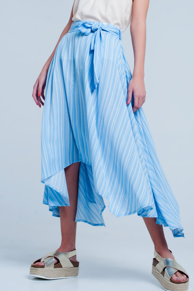 Blue midi skirt with tie detail in stripe