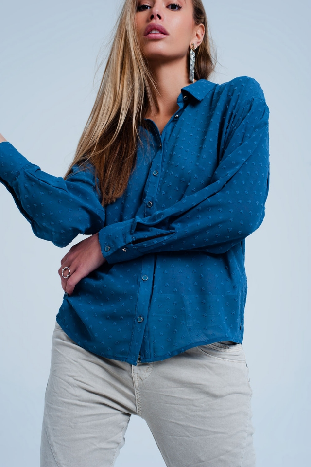 Blouse with texture in blue